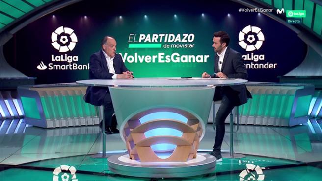 Javier Tebas y Juanma Castaño, en 'El Partidazo de Vamos'