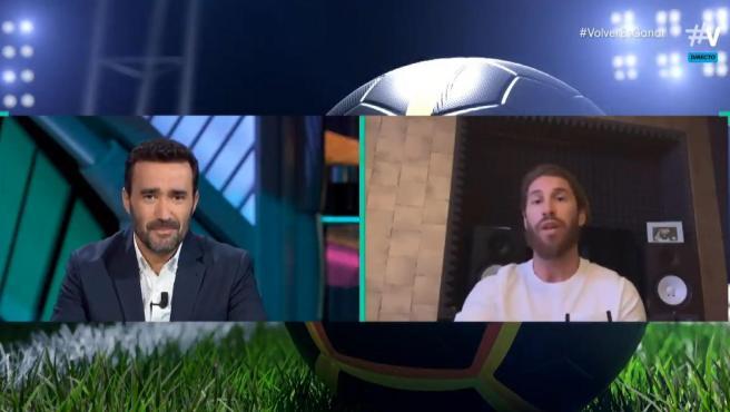 Juanma Castaño y Sergio Ramos, en 'El Partidazo de Vamos'