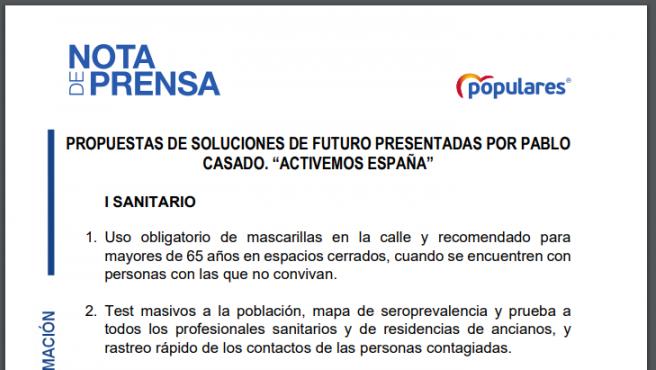 Documento de propuestas del PP