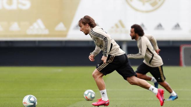 Modric, durante un entrenamiento del Real Madrid.