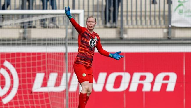 La veterana arquera, en un partido del Wolfsburgo.
