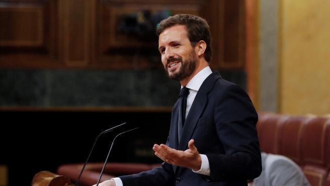 El líder del PP, Pablo Casado, interviene en el pleno del Congreso.