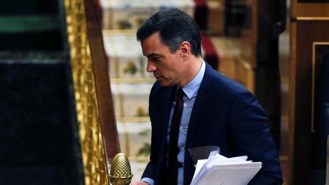 El presidente, Pedro Sánchez, asiste al Congreso el pasado miércoles.