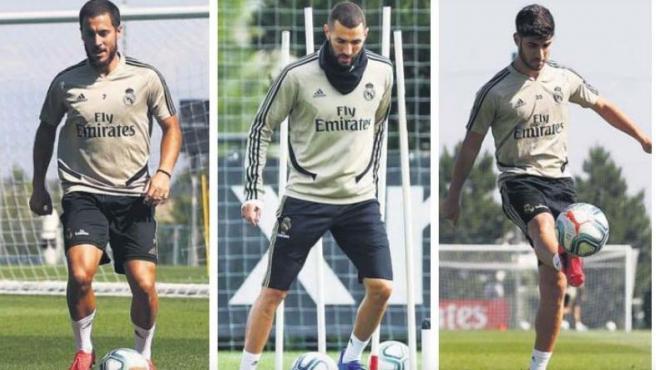 Eden Hazard, Karim Benzema y Marco Asensio