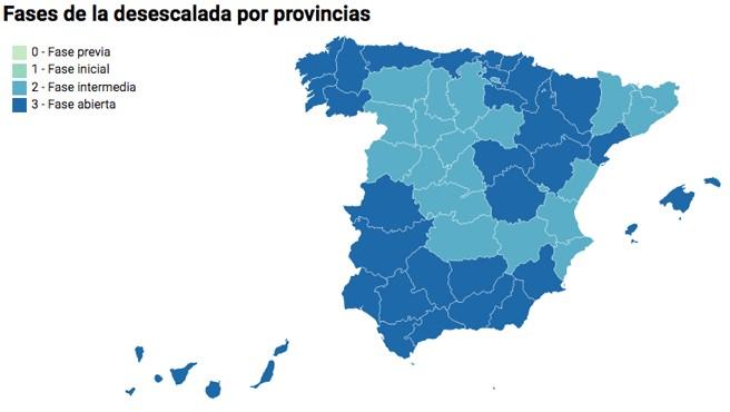 Fases de la desescalada por provincias.