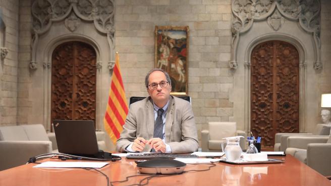 El presidente de la Generalitat, Quim Torra, en la pasada reunión de presidentes autonómicos con el presidente del Gobierno, Pedro Sánchez.