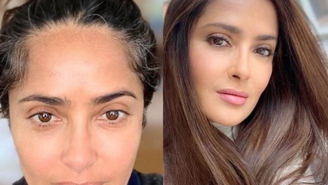 Salma Hayek, antes y después de teñirse el pelo.
