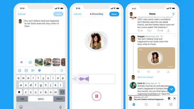 Para publicar un tuit de audio pulsa el icono de onda sonora que aparece en el cuadro para tuitear.