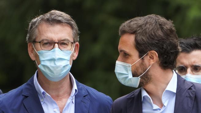 Feijoo y Casado en la presentación de Feijoo como candidato del PP a las eleciones autonómicas del 12 de julio
