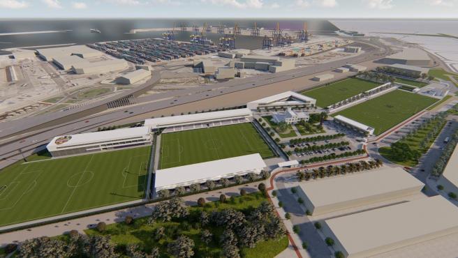 Figuración virtual de la Ciudad Deportiva del Levante UD junto a las instalaciones portuarias.