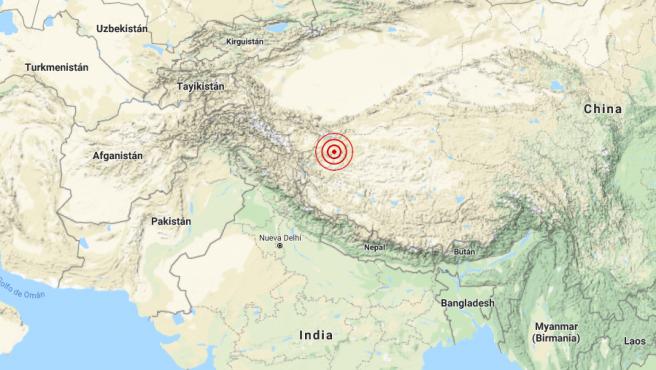 Localización del terremoto de 6,4 grados registrado en las proximidades de la ciudad china de Hotan, cerca de la frontera con India y Nepal,