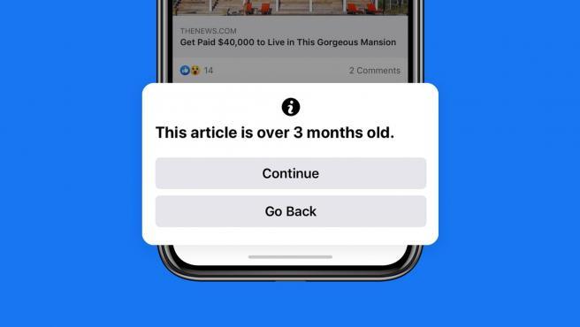 Facebook mostrará a los usuarios una advertencia emergente como esta.