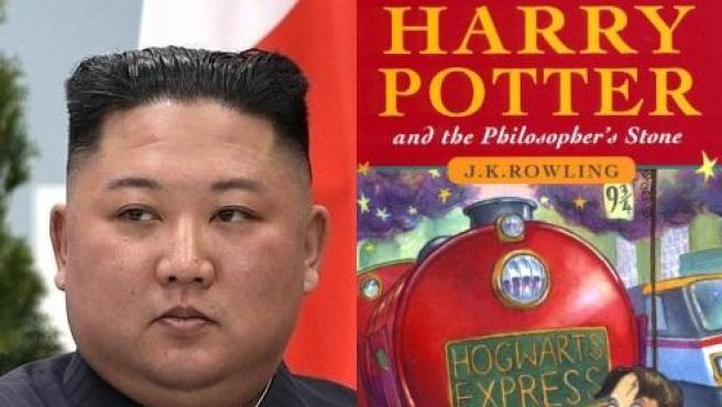 Montaje de fotos de Kim Jong-un y la primera edición del primer libro de Harry Potter en inglés.
