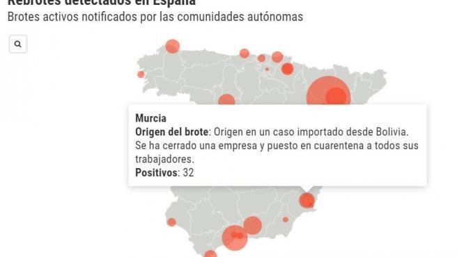 Mapa de los brotes de coronavirus.