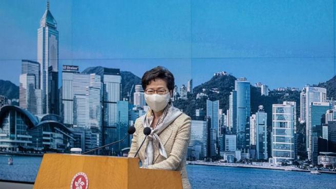 La jefa del Ejecutivo de Hong Kong, Carrie Lam, durante una rueda de prensa.