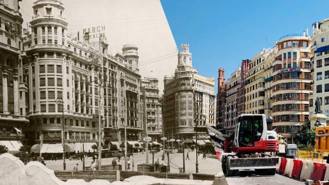 Vista panorámica hacia la mitad norte de la plaza en la primera mitad del siglo XX y en la actualidad, con las obras en marcha.