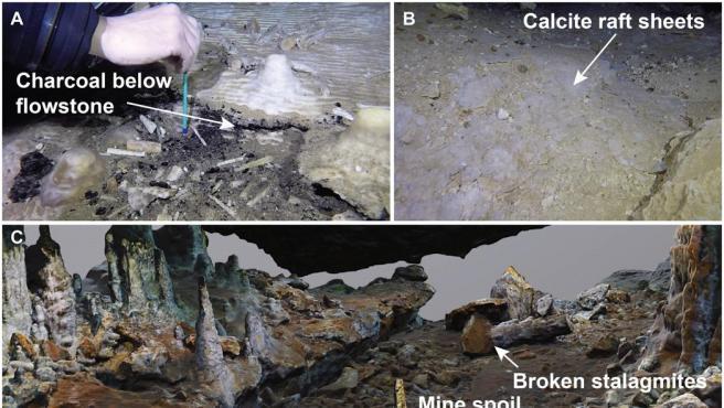 Imágenes de los restos hallados en una cueva submarina en México.