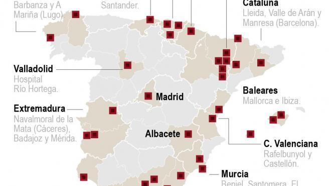 Mapa rebrotes en España a 7 de julio de 2020