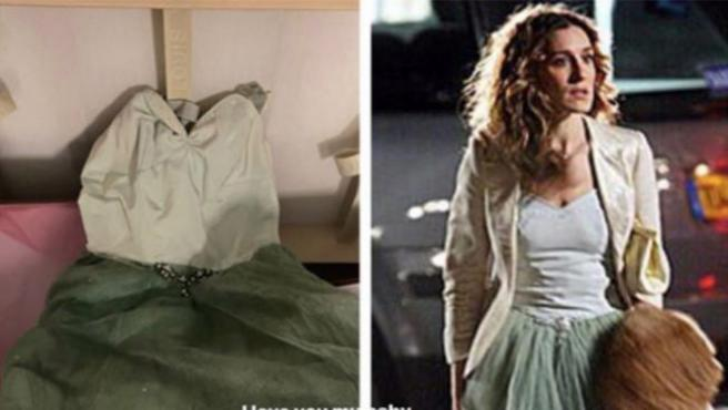El vestido que Kobe Bryant le regaló a su mujer y Sarah Jessica Parker luciéndolo en la serie.