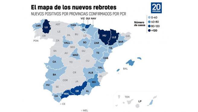 Mapa de rebrotes de coronavirus en España a 9 de julio.