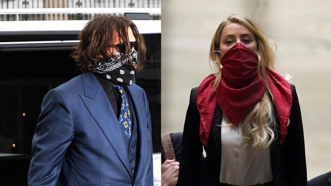 Combo de fotos de Johnny Depp y Amber Heard, en Londres esta semana.