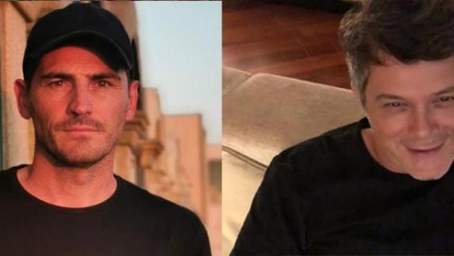 Iker Casillas y Alejandro Sanz.