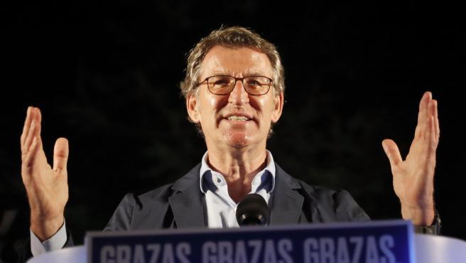 Alberto Núñez Feijóo tras conseguir la victoria en las elecciones gallegas.