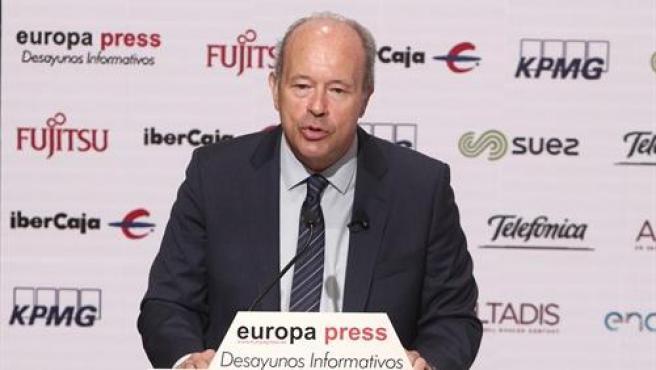 El ministro de Justicia, Juan Carlos Campo, durante un desayuno informativos de Europa Press.