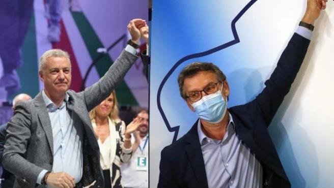 Urkullu y Feijóo celebran los resultados de las elecciones del 12-J.