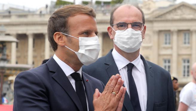El presidente francés, Emmanuel Macron, y el primer ministro, Jean Castex.