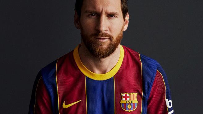 Messi con la nueva equipación del Barcelona