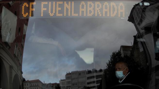 Autobús del Fuenlabrada en A Coruña