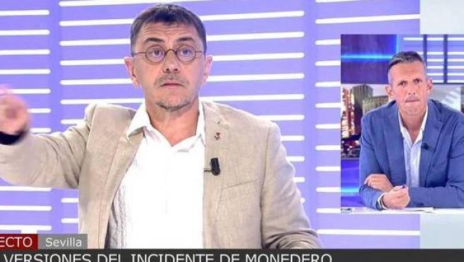 Joaquín Prat se enfrenta a Monedero por señalar a una reportera en 'Cuatro al día'.