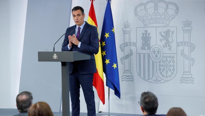 El presidente del Gobierno, Pedro Sánchez, durante la rueda de prensa de este martes en la Moncloa.
