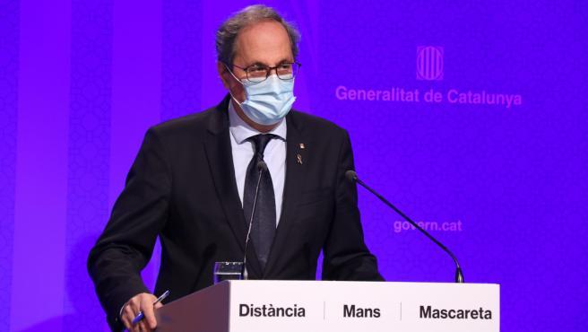 El presidente de la Generalitat, Quim Torra, en rueda de prensa tras la reunión del Consejo Ejecutivo de este martes.