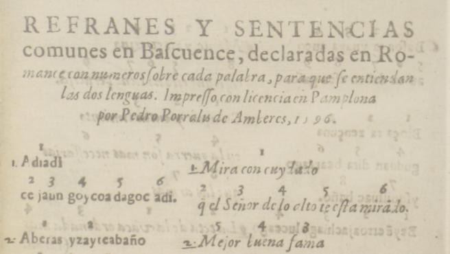 Libro de proverbios vasco de 1596.