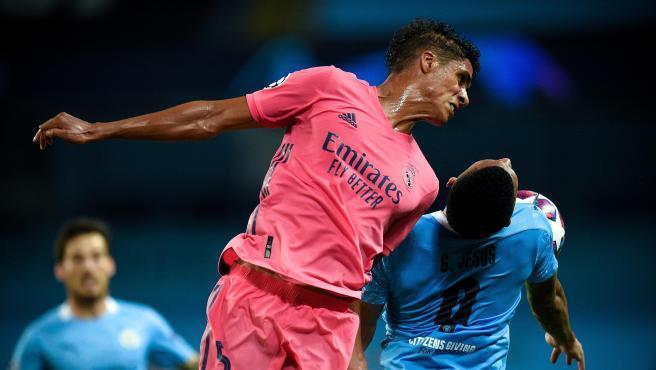 Raphael Varane, durante el partido contra el Manchester City