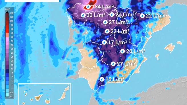 Precipitación acumulada entre el lunes 10 y el jueves 13 de agosto
