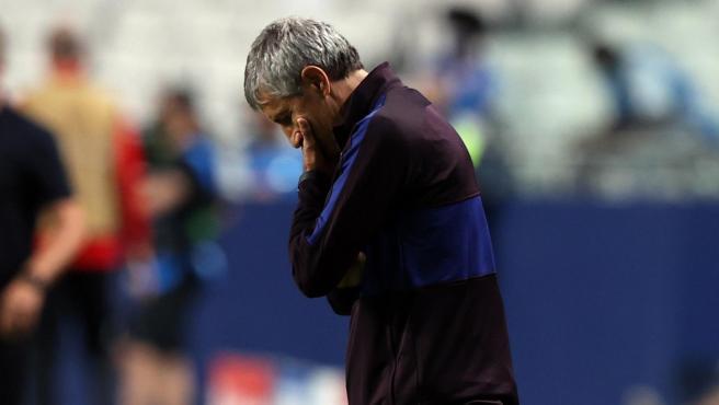 El entrenador del Barcelona, durante la histórica derrota del Barcelona.