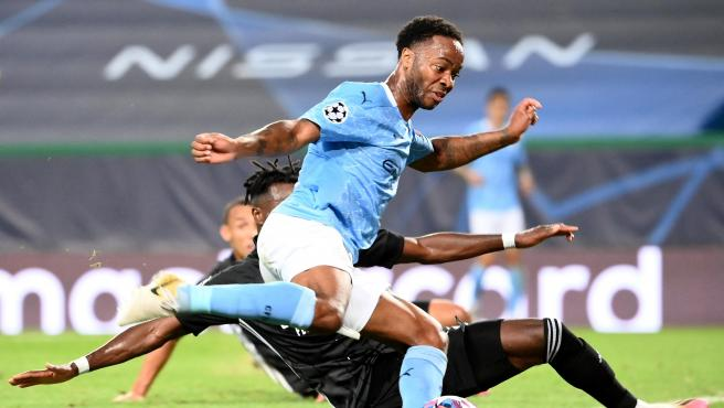 Sterling, durante el Manchester City-Olympique