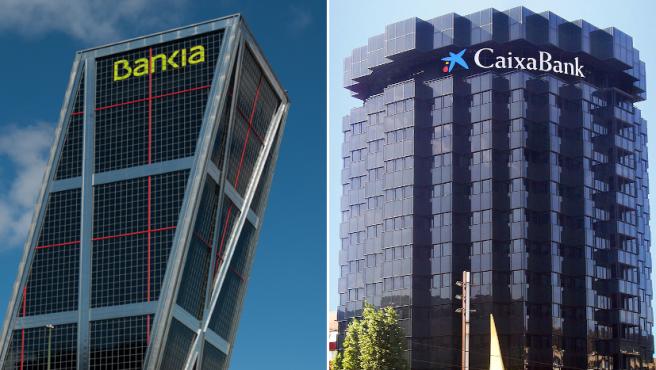 Sedes de Bankia y CaixaBank.