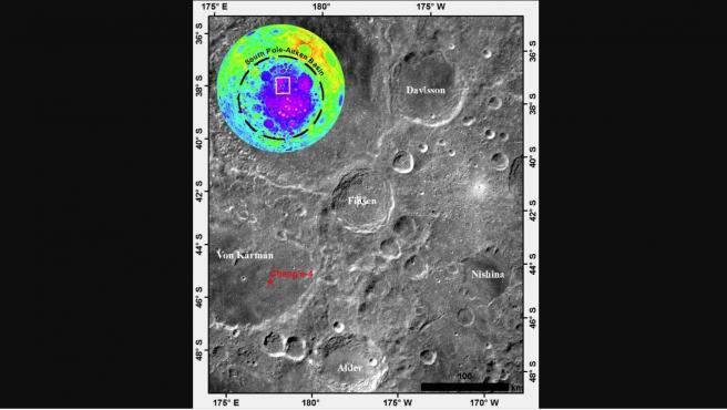 Posición del cráter Finsen en la cara oculta de la Luna.