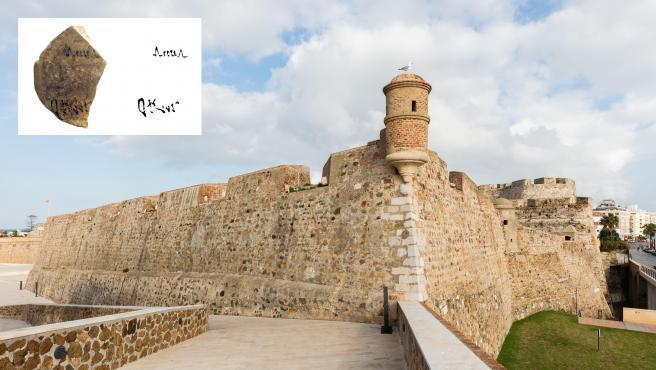 Imagen de las Murallas Reales de Ceuta y de la ánfora hallada en ellas.
