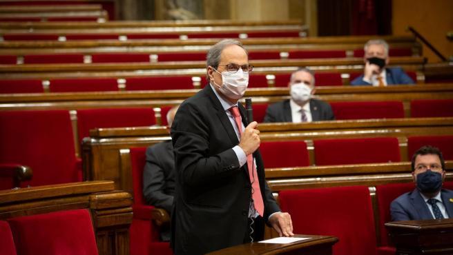 El presidente de la Generalitat, Quim Torra, durante la sesión de control en el pleno del Parlament este miércoles.