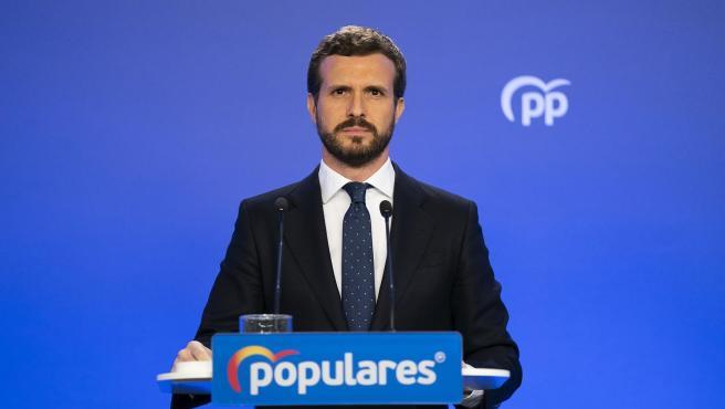 El presidente del PP, Pablo Casado, en una rueda de prensa en Génova. El presidente del PP, Pablo Casado, en una rueda de prensa en Génova. (Foto de ARCHIVO) 12/3/2020