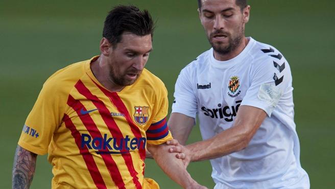 Messi, durante el amistoso contra el Nàstic de Tarragona