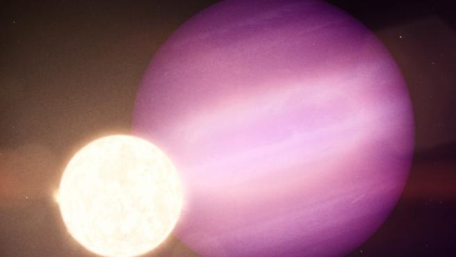 Un potencial planeta del tamaño de Júpiter orbita alrededor de la estrella enana cada 34 horas, unas 60 veces más rápido que Mercurio alrededor del Sol.