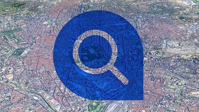 Imagen de recurso del icono de una lupa sobre un mapa.