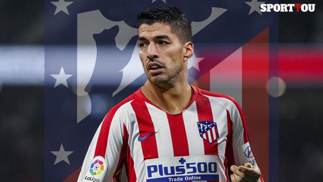 Montaje de Luis Suárez, con la camiseta del Atlético de Madrid