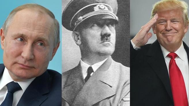 Vladimir Putin, Adolf Hitler y Donald Trump.